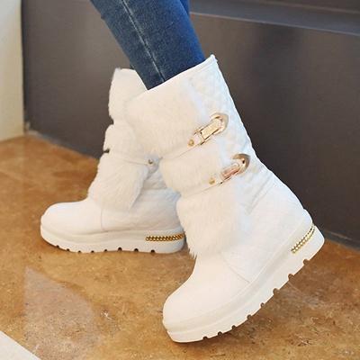 Women's Boots Black Wedge Heel Round Toe Buckle Boots_7
