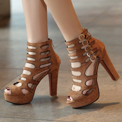 Suede Stiletto Heel Dress Lace-up Sexy Peep Toe Boots_3