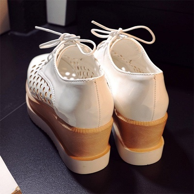 Hollow-out Lace-up Wedge Creepers_14
