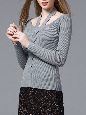 Gray Knitted Halter Simple Sweater_7