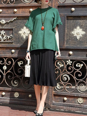 Fringed Solid Casual Short Sleeve Shift Sweater_7
