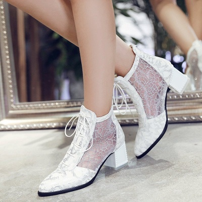 Zipper Chunky Heel Mesh Fabric Pointed Toe Boots_5