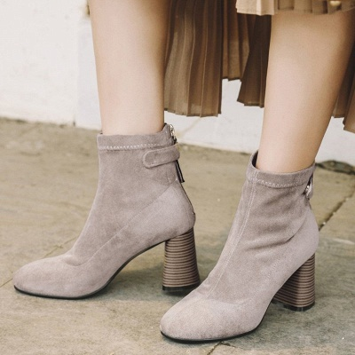 Zipper Daily Pointed Toe Elegant Boots_4