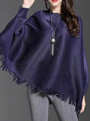 Fringed Batwing Casual Stand Collar Coat_3