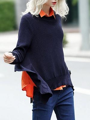 Blue-Orange Solid Long Sleeve Casual Paneled Sweater_1