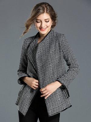 Gray Work Pockets Shift Shawl Collar Long Sleeve Coat_5
