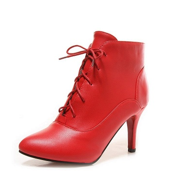 Lace-up Stiletto Heel Pointed Toe Elegant Boots_1