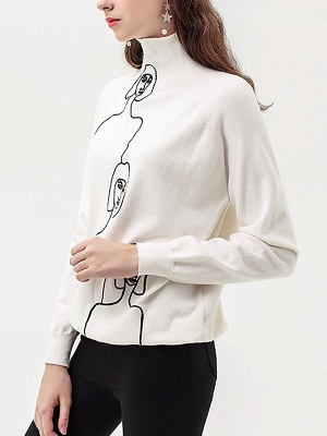 White Shift Casual Long Sleeve Graphic Sweater_6