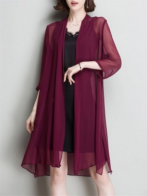 Solid Casual 3/4 Sleeve Shawl Collar Slit Chiffon Coat_2