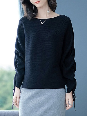 Long Sleeve Casual Ribbed Sweater_3