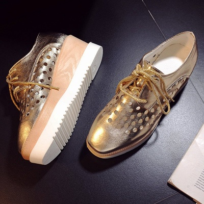 Hollow-out Lace-up Wedge Creepers_16