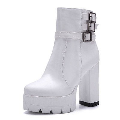 Daily Chunky Heel Zipper Round Toe Buckle Boots_12
