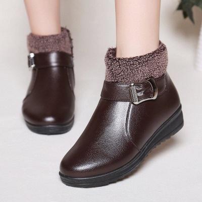 Wedge Heel Daily Zipper Round Toe Buckle Boots_2