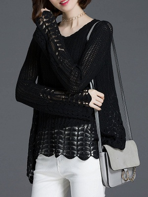 Crocheted Daily Casual Knitted Shift Sweater_11