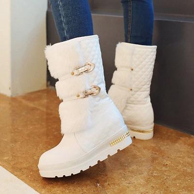 Women's Boots Black Wedge Heel Round Toe Buckle Boots_4