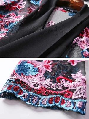 Black Floral Shift 3/4 Sleeve Casual Coat_6