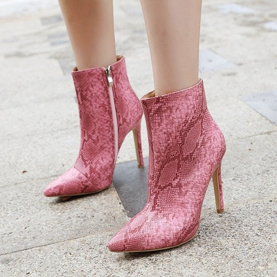Women's Boots Stiletto Heel Pink Zipper Pointed Toe Sexy Boots_5