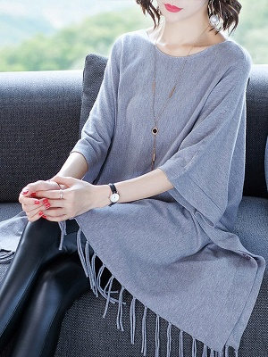 Casual Batwing Crew Neck Fringed Solid Sweater_5