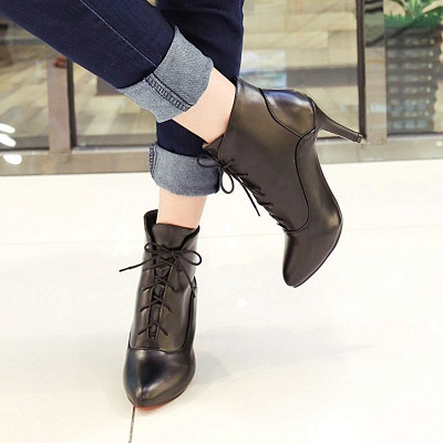 Lace-up Stiletto Heel Pointed Toe Elegant Boots_9