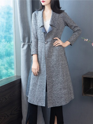 Gray Long Sleeve Casual Shawl Collar Cotton Solid Buttoned Coat_6