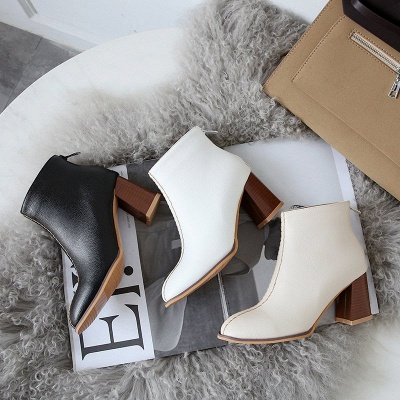 Chunky Heel PU Zipper Daily Pointed Toe Boots_7