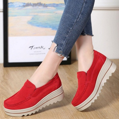 Casual Round Toe Leather Flat Heel Loafers_1
