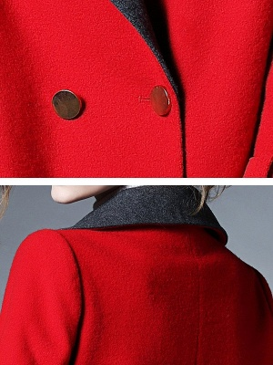 Red Shawl Collar Solid Long Sleeve Casual Coat_6