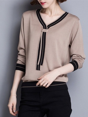 Casual Intarsia Shift Ice Yarn Knitted Simple Sweater_2