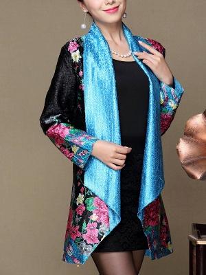 Asymmetrical Long Sleeve Shawl Collar Casual Crinkled Printed Coat_3