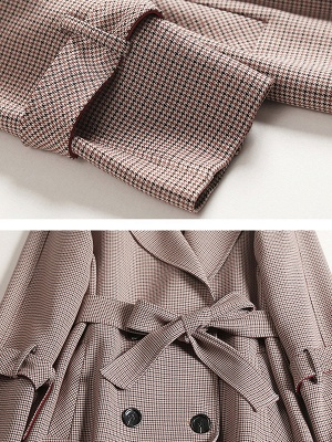 Lapel Work Printed Buttoned Pockets Houndstooth Coats_6