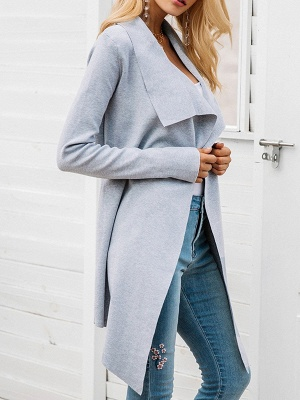 Casual Long Sleeve Solid Coat_7