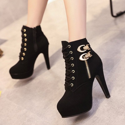 Daily Lace-up Chunky Heel Round Toe Buckle Stiletto Heel Boots_9