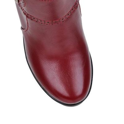Buckle PU Chunky Heel Round Toe Boot_10
