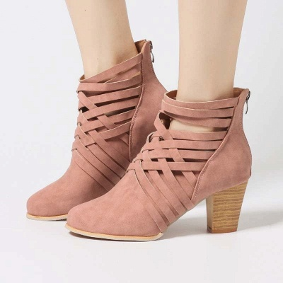 Zipper Pointed Toe Chunky Boots_9