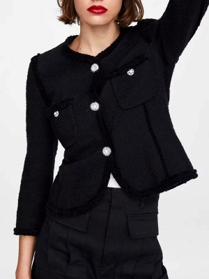 Black Casual Solid Crew Neck Buttoned Paneled Pockets Coat_1