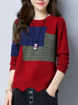Long Sleeve Cable Casual Knitted Sweater_1