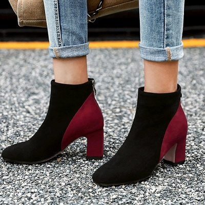 Women Daily Chunky Heel Suede Color Block Boots_6