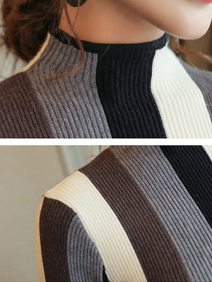 Casual Long Sleeve Stand Collar Color-block Sheath Sweater_6