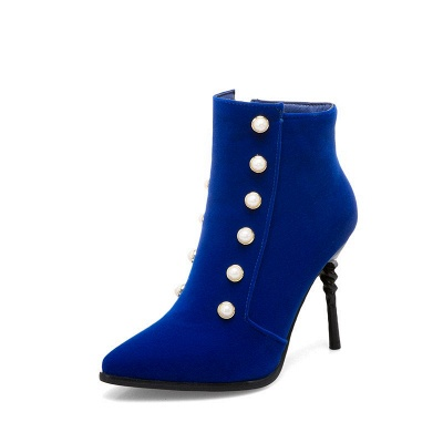 Suede Daily Stiletto Heel Pointed Toe Zipper Boots_11