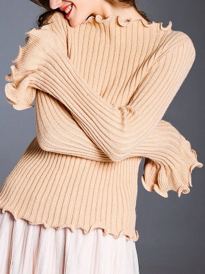 Apricot Wool Bateau/boat neck Solid Casual Sweater_1