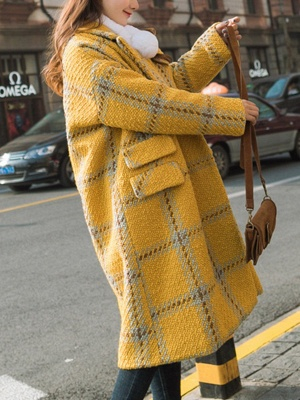 Yellow Lapel Long Sleeve H-line Buttoned Checkered/Plaid Casual Pockets Coat_4