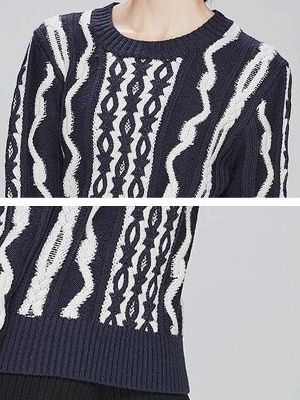 Navy Blue Cable Long Sleeve Casual Geometric Sweater_5