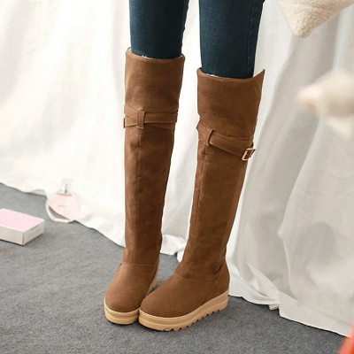 Suede Daily Wedge Heel Buckle Casual Boot_1