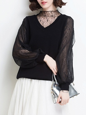Shift Balloon Sleeve Guipure lace Casual Sweater_2