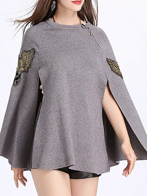 Elegant Plain Cape Sleeve Sweater_2