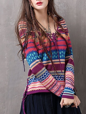 Multicolor Printed Long Sleeve Geometric Sweater_3