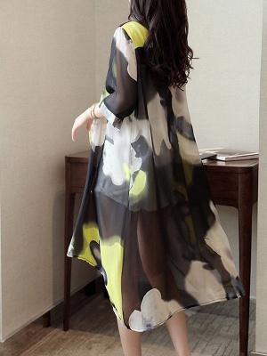 Asymmetric Stand Collar 3/4 Sleeve Holiday Chiffon Coat_13
