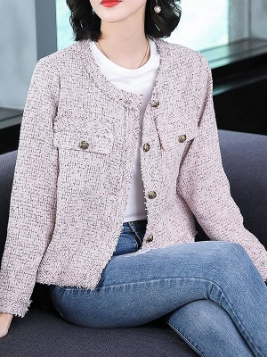 Pink Casual Buttoned Long Sleeve Coat_4