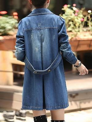 Blue Shift Long Sleeve Pockets Buttoned Shirt Collar Coat_3