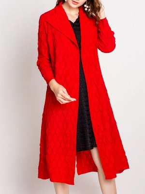 Long Sleeve Slit Casual Solid Shawl Collar Embossed Shift Coat_1